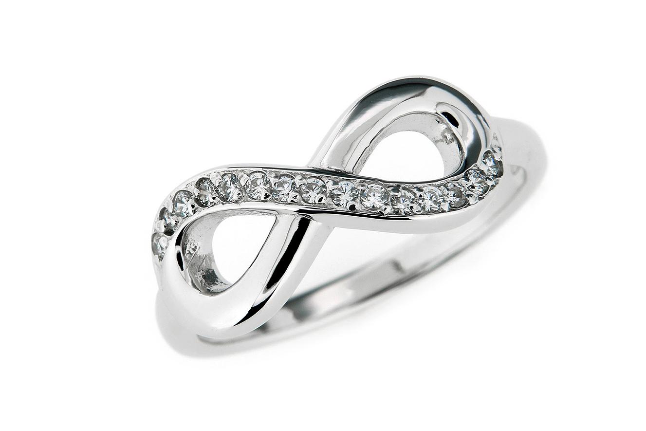 Gr.54 Ring Silber 925 rhodiniert mit Zirkonia und unendlich Symbol