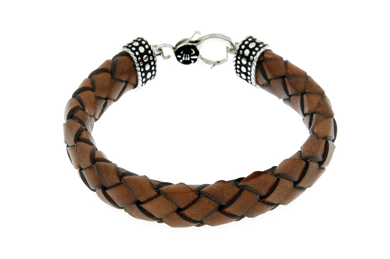 22-20cm Armband Silber 925 rhodiniert teilweise oxydiert mit dunkelbraunen geflochten Leder