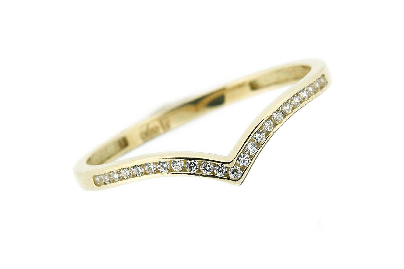 Gr.53 Ring gefertigt in Gold 585 Gelbgold und weißen Zirkonia