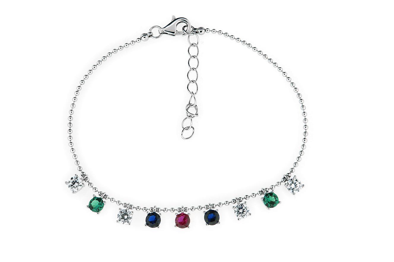 19-16cm Armband in Silber 925 rhodiniert mit farbigen Zirkonia