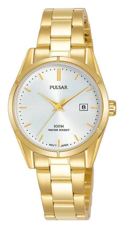 Vergoldete Damenarmbanduhr Pulsar PH7476X1 mit Datumsanzeige in Edelstahl und Faltschließe
