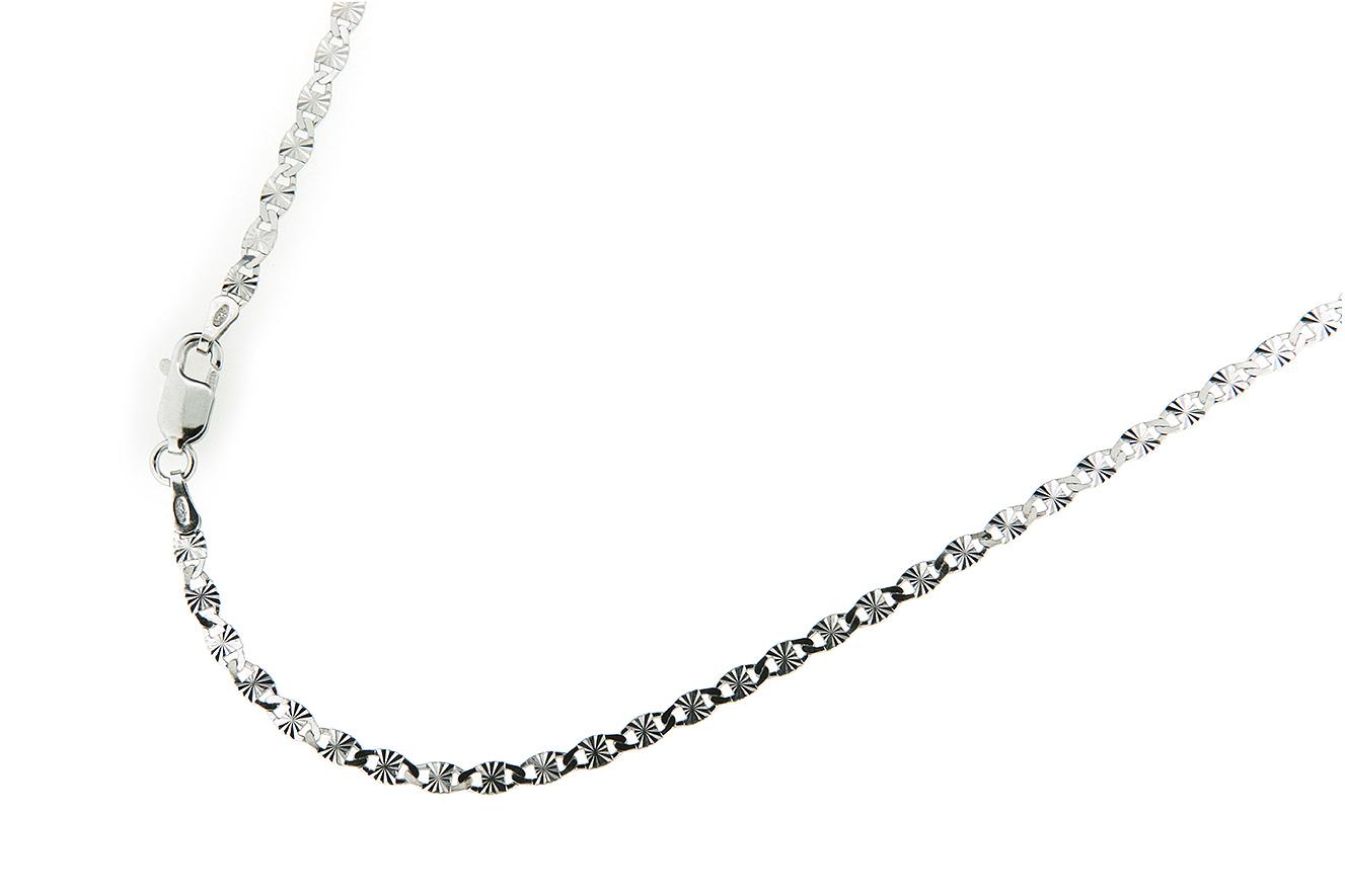 42cm Kette in Silber 925 rhodiniert mit  Sternenschliff