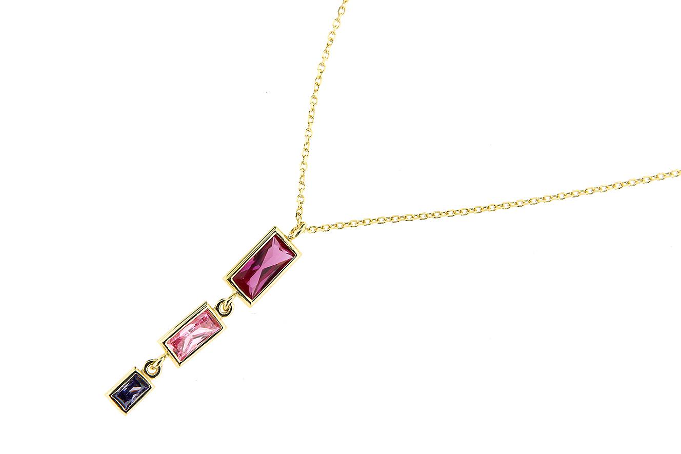 45-42cm Kette in Gold 375 mit Zirkonia in pink rosa und lila