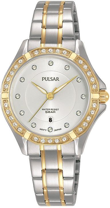 Armbanduhr von Pulsar PH7530X1 mit Edelstahlgehäuse, Faltschließe und Swarovski Steinen in Bicolor