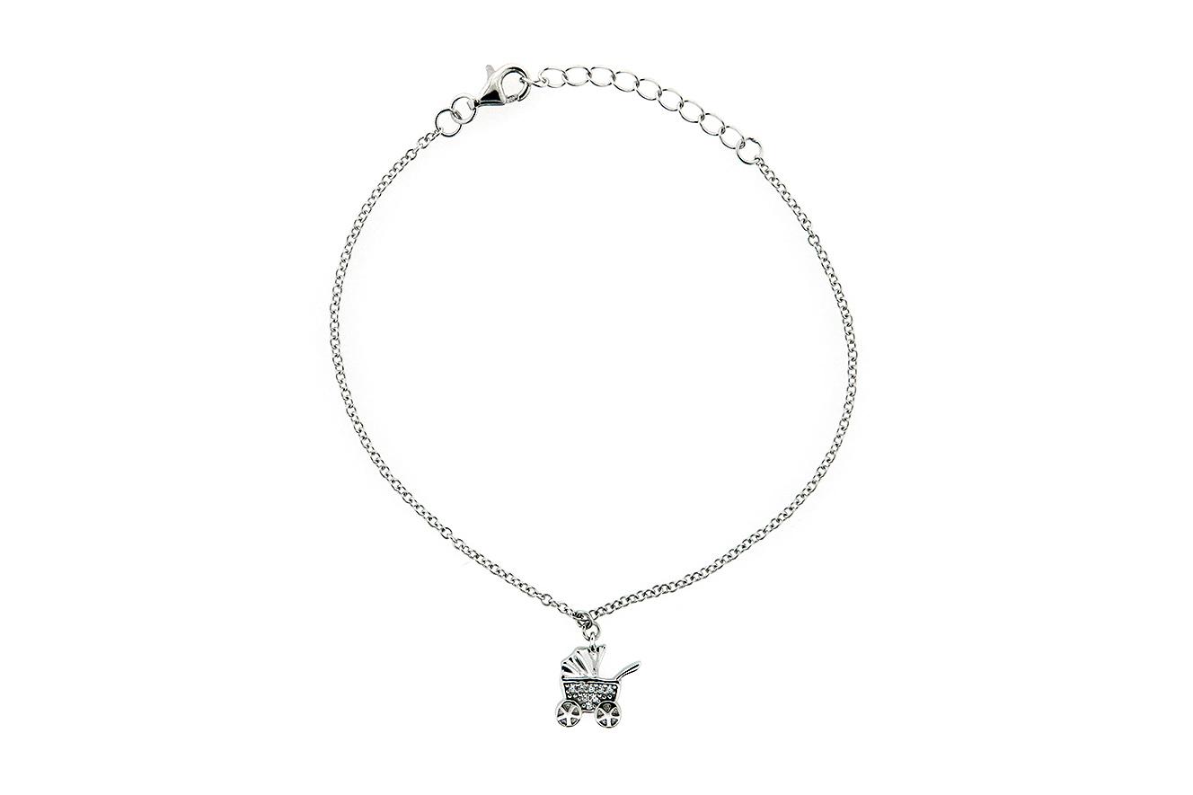19-17cm Armband in Silber 925 rhodiniert mit Kinderwagen und Zirkonia