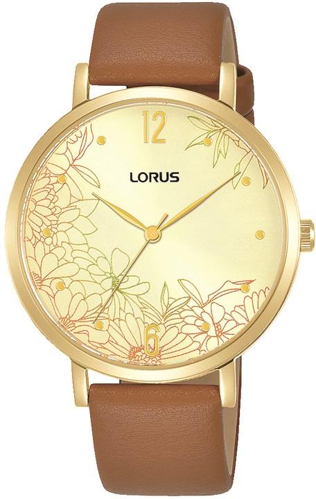 Damenarmbanduhr Lorus RG296TX9 mit goldenen Zifferblatt und Blumenmuster