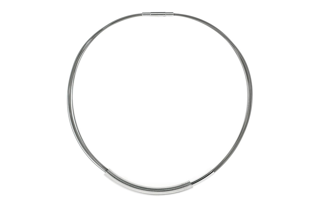 44cm Collier Image von Yo Design mit Röhren in Silber 925 und Edelstahl