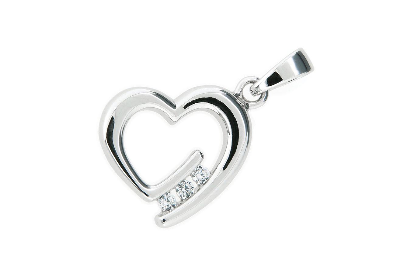 Anhänger Herz in Silber 925 rhodiniert mit Zirkonia