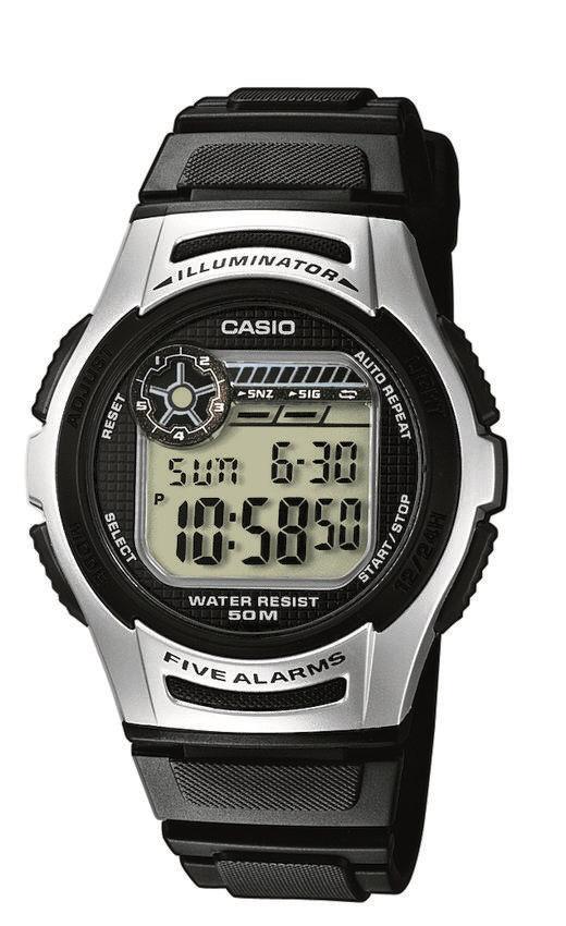 Unisex Digitaluhr von Casio W-213-1AVES mit 40mm Durchmesser in schwarz silber.