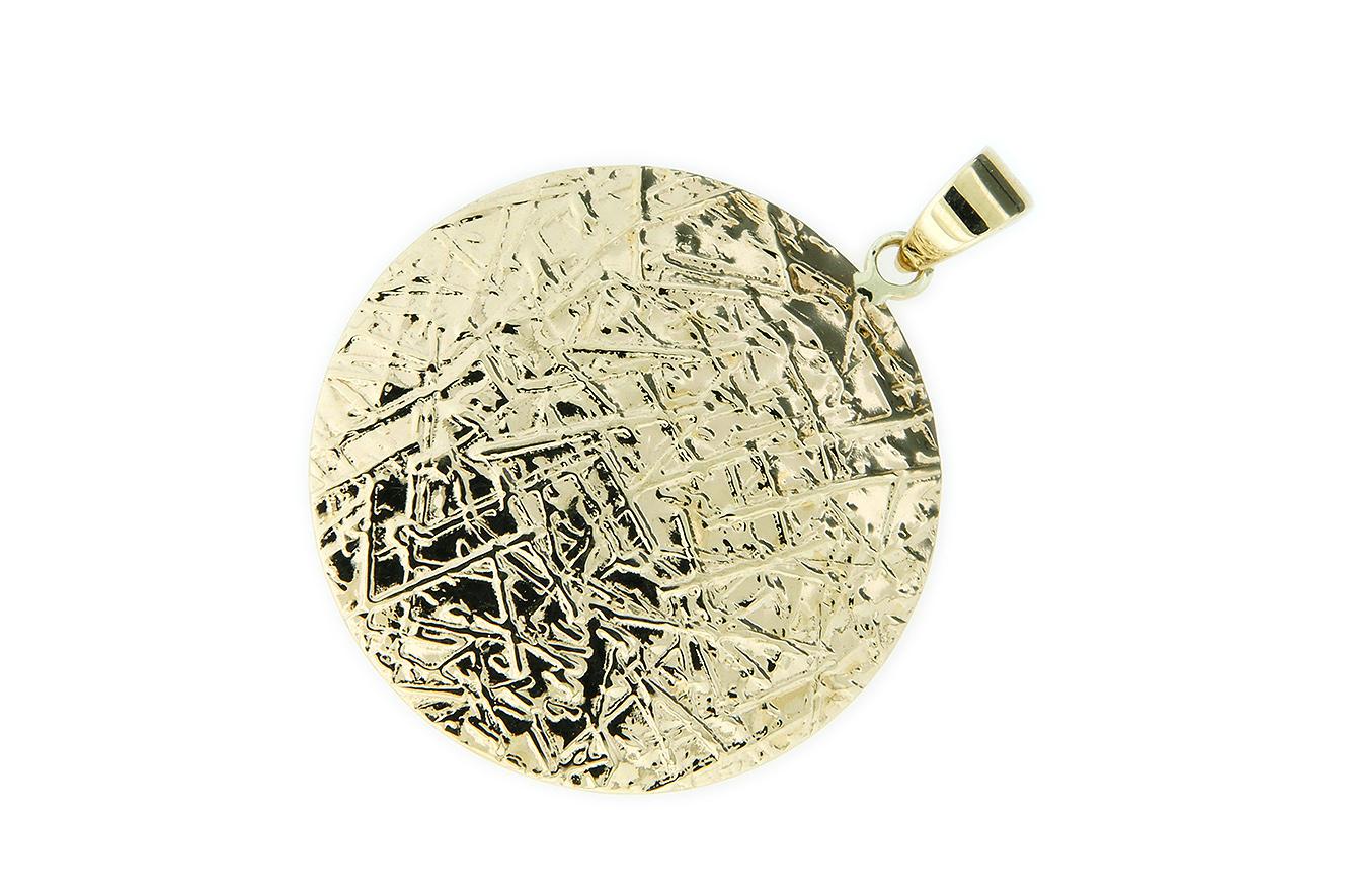 Anhänger in Gold 585 mit filigraner gekratzter Oberfläche