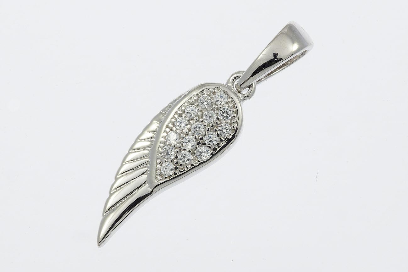Anhänger Flügel in Silber 925 rhodiniert mit Zirkonia