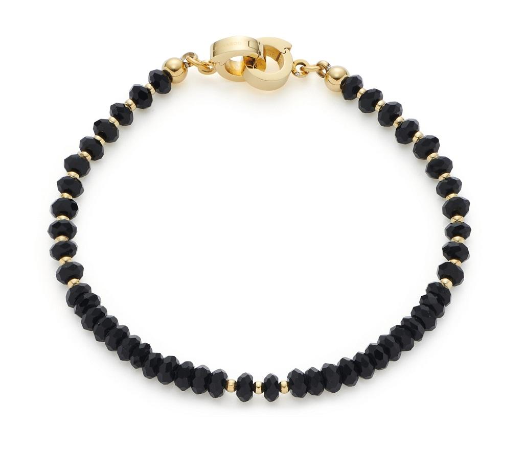 19cm Armband von Leonardo 021570  Bali Clip&Mix mit schwarzen Glassteinen und vergoldeten Clipversch