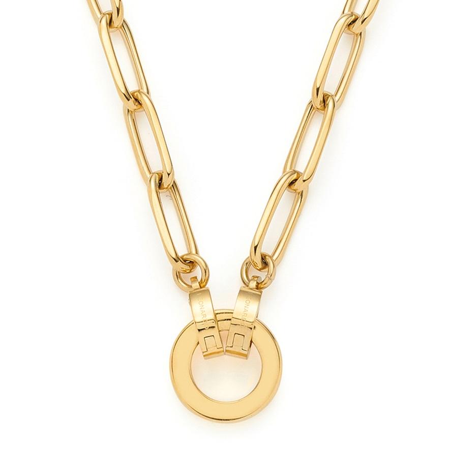 45cm Kette mit Ring von Leonardo Estrella 021614 mit Stabgliedern aus Edelstahl vergoldet und polier