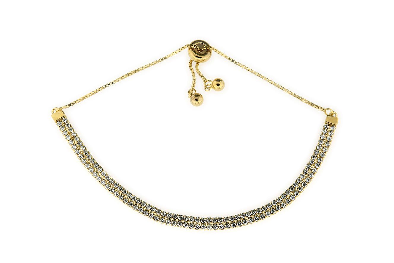 25-12cm doppelreihiges Tennisarmband Silber 925 gelb vergoldet mit Zirkonia