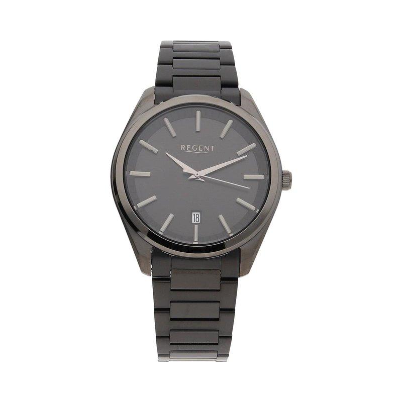 Armbanduhr Regent HM-8027 mit schwarz ionisierten Edelstahlgehäuse und Edelstahlarmband im Keramikde