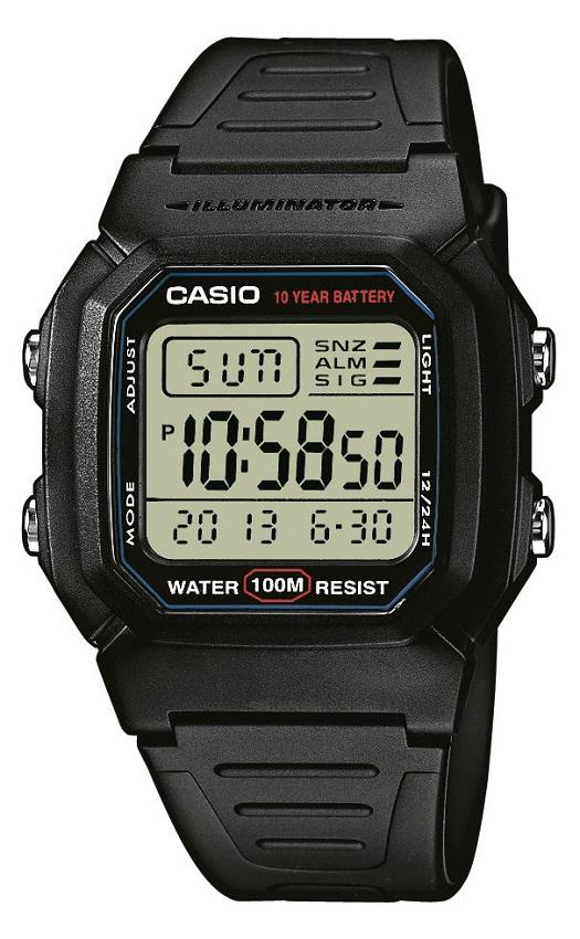 Armbanduhr mit Digitaldisplay von Casio W-800H-1AVES mit Licht zweiter Zeitzone, Beleuchtung, Alarm