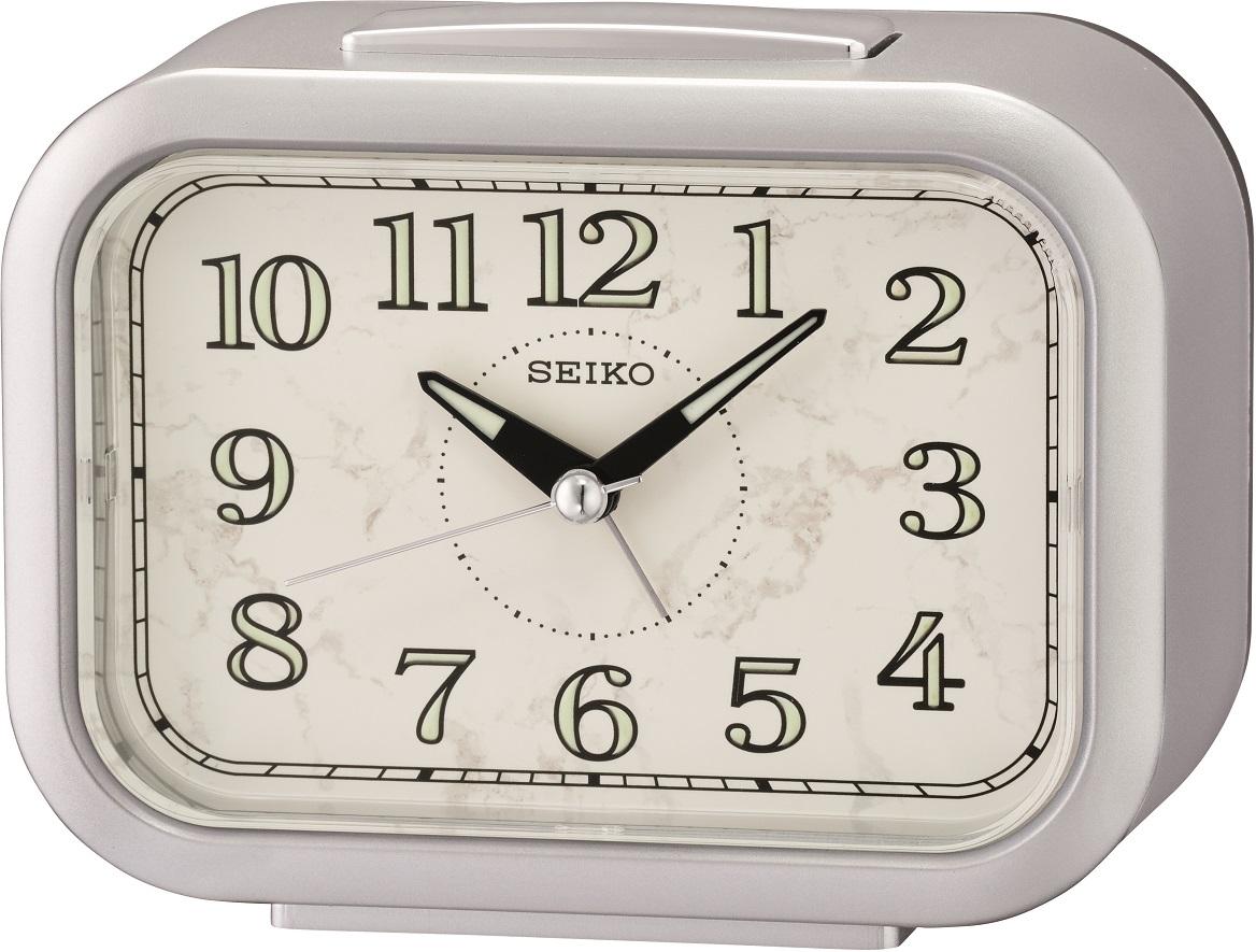 Silberfarbener Seiko Wecker QHK056S mit laufender Sekunde und Glocken Alarm