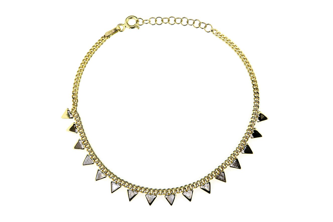 19-16cm Armband in Silber 925 vergoldet mit kleinen Pfeilen und Dreiecken