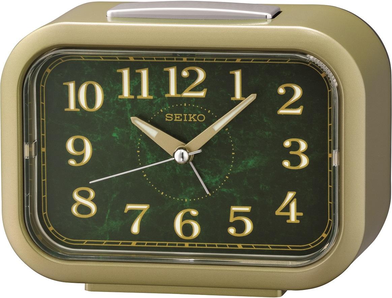 Goldfarbener Seiko Wecker QHK056G mit laufender Sekunde und Glocken Alarm