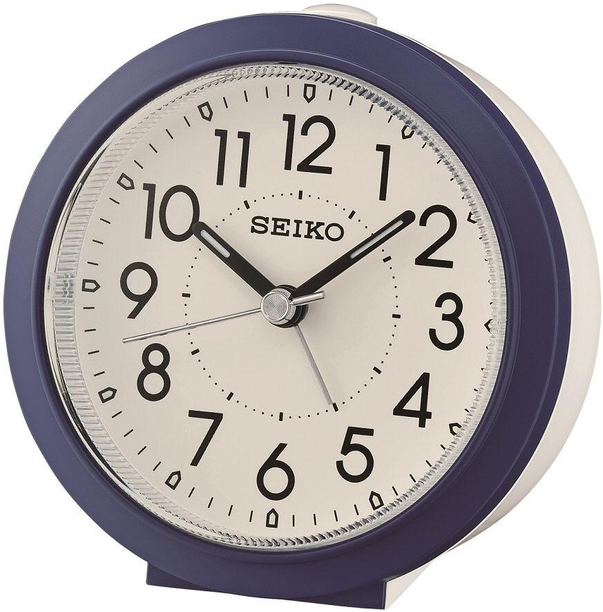 Blauer-Weißer Seiko Wecker QHE174GL mit laufender Sekunde und Licht
