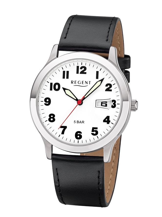 Armbanduhr Regent F-788 mit weißen Zifferblatt und Lupe für die Datumsanzeige