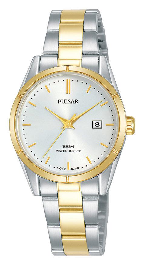 Damenarmbanduhr Pulsar PH7474X1 mit Datumsanzeige in Edelstahl und Faltschließe
