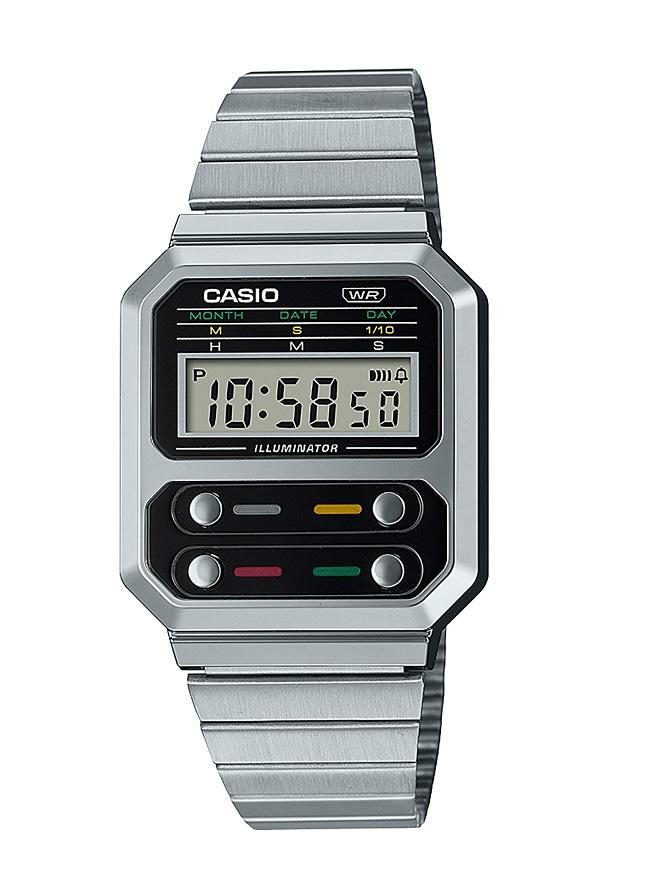 Armbanduhr Unisex mit Digitalanzeige von Casio A100WE-1AEF mit Licht und Alarm