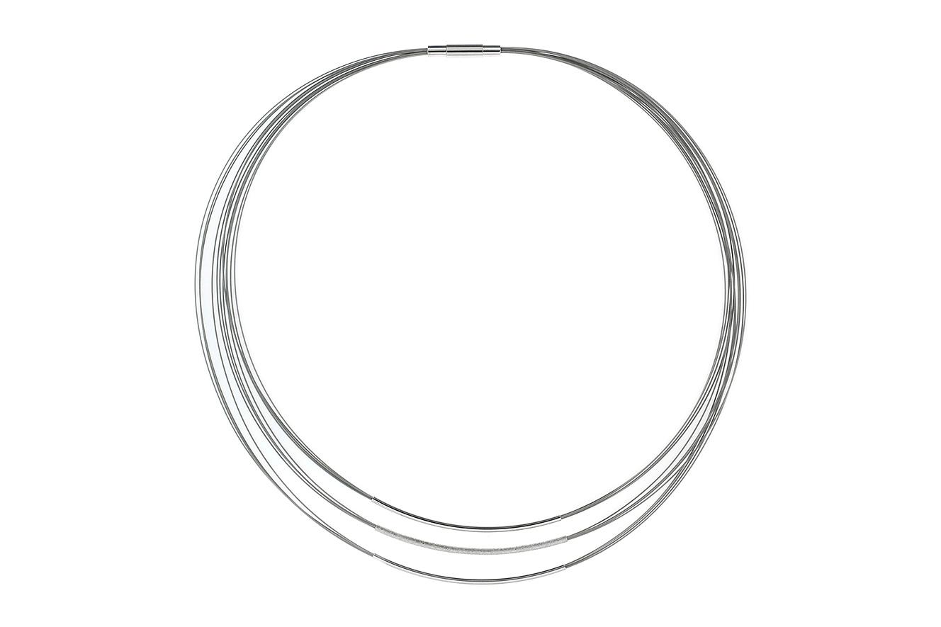 44cm Collier Move von Yo Design mit Röhren in Silber 925 und Edelstahl