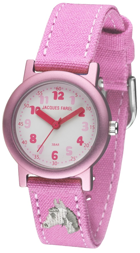 Öko-Kinderuhr Jacques Farel ORG 8821 Reinaluminum Gehäuse pink und Biobaumwollband rosafarben nachha