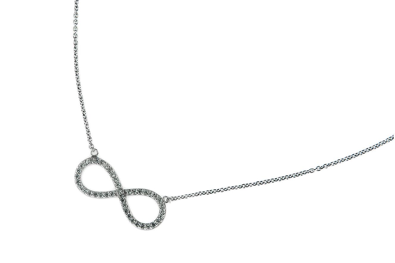 42-45cm Kette in Silber 925 rhodiniert mit Zirkonia und endlos Symbol