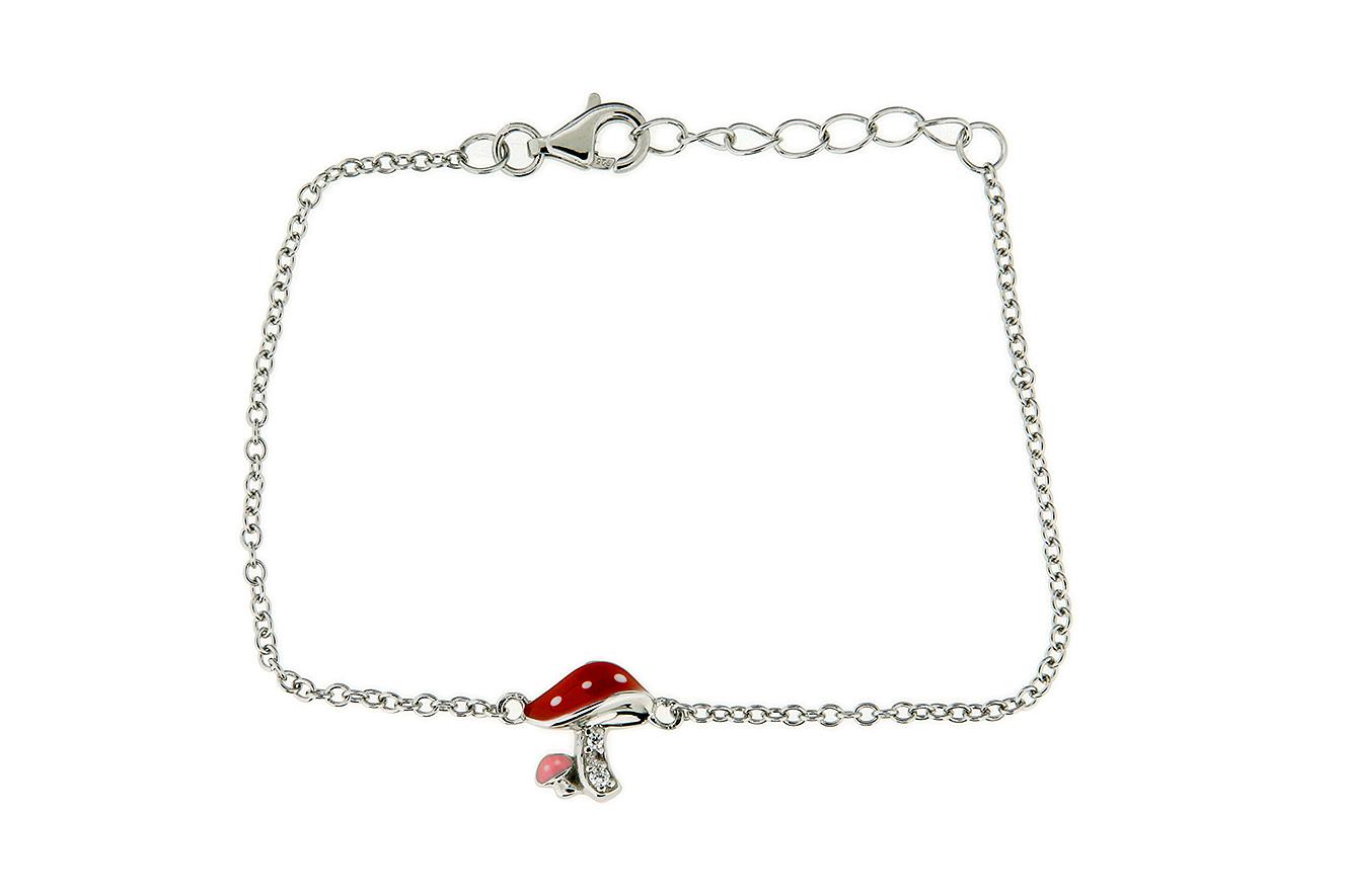 16-14cm Armband mit Fliegenpilz in Silber 925 rhodinierter Oberfläche und Zirkonia