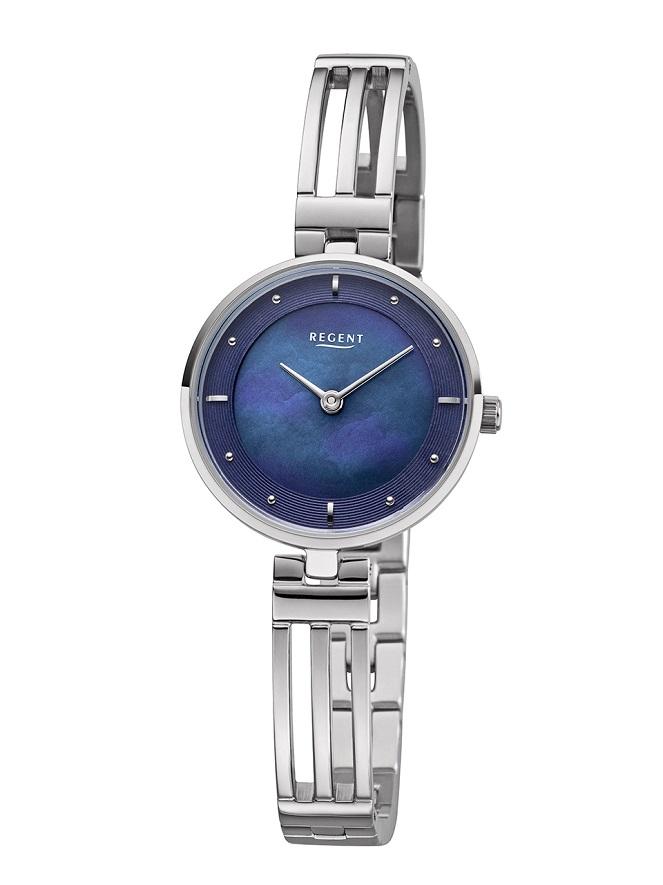 Armbanduhr Regent F-1148 mit dunkelblauen Zifferblatt und durchbrochenen Armband