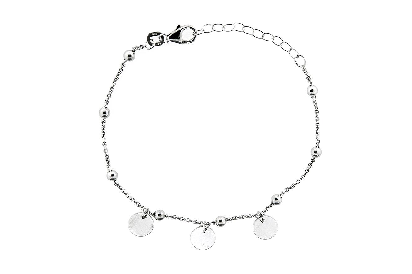 19-16cm Armband mit Plättchen Silber 925 rhodiniert mit Verlängerungskettchen 5cm