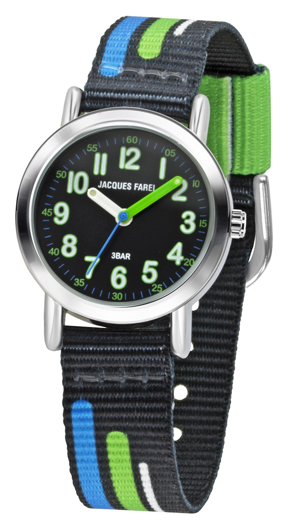 Kinderuhr von Jacques Farel KPS 403 Metallgehäuse und Textilarmband in schwarz mit blauen, grünen un