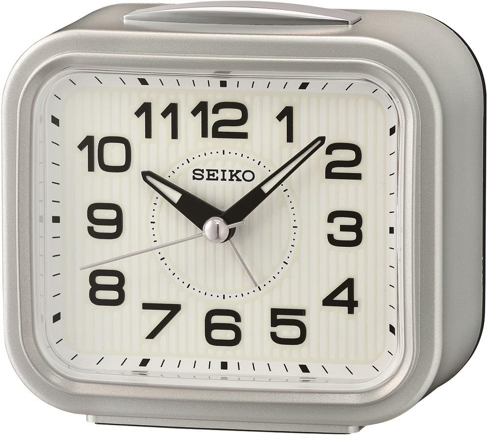 Silberner Seiko Wecker QHK050S mit laufender Sekunde und Glocken Alarm sowie Licht
