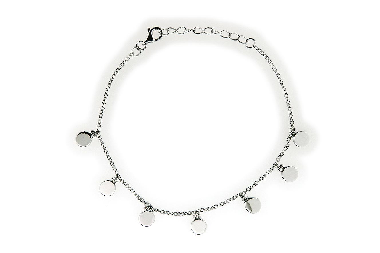 20-17cm Armband mit Plättchen in Silber 925 rhodiniert mit Verlängerungskettchen 3cm
