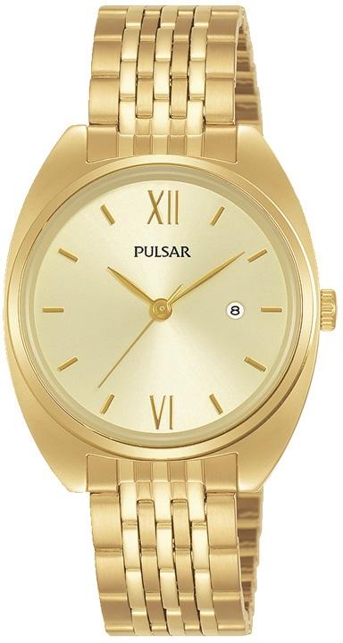 Damenarmbanduhr Pulsar PH7558X1 mit goldenen Zifferblatt sowie Datum in Edelstahl mit vergoldeter Ob