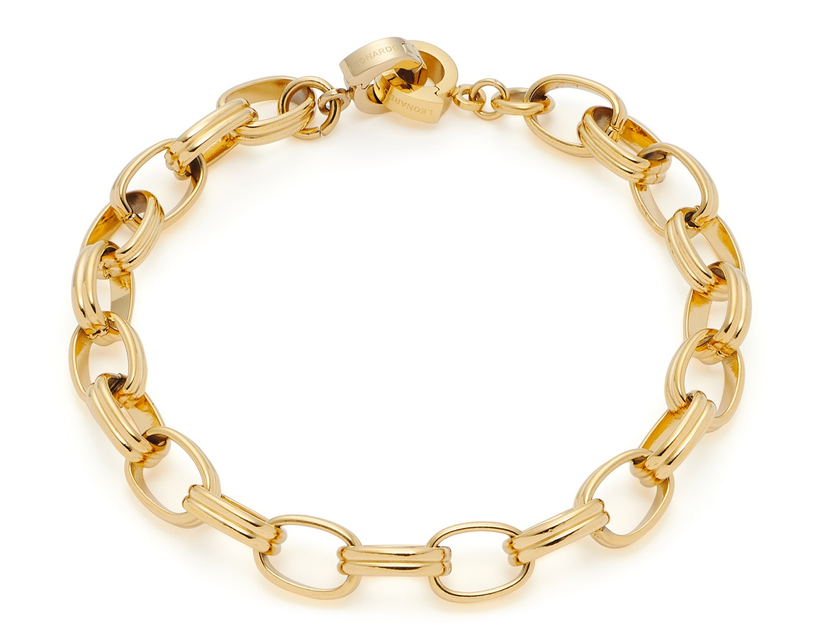 19cm Armband  von Leonardo Odeya 019669 Clip&Mix in Edelstahl vergoldet