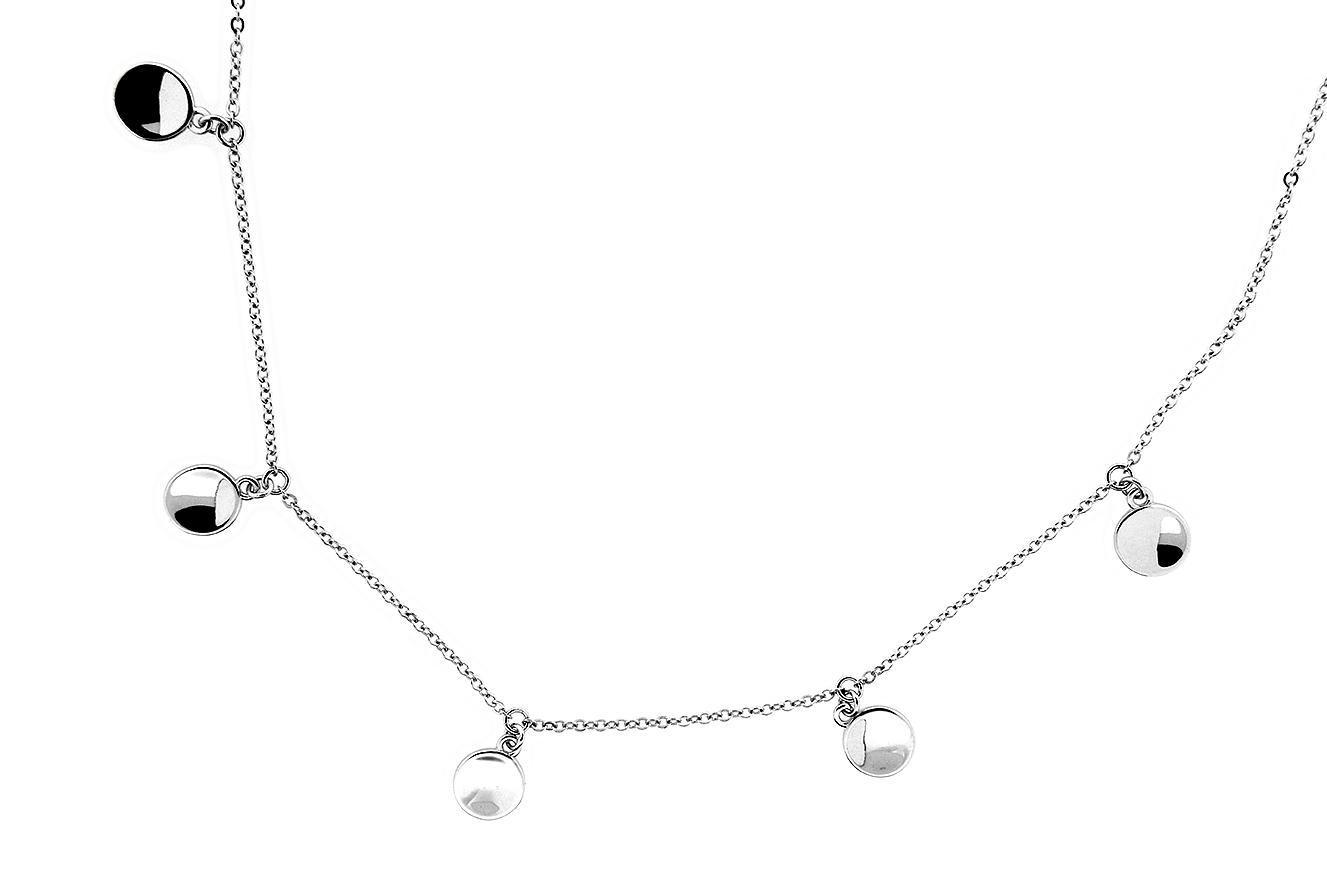45-40cm Collier mit Plättchen Silber 925 rhodiniert mit Verlängerungskettchen 5cm