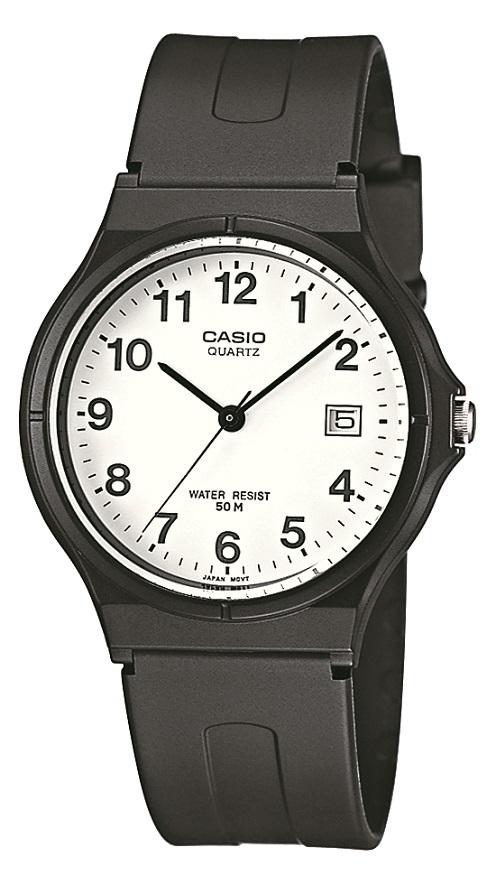 Armbanduhr Casio MQ-24-7BLLEG mit Analoganzeige, weißem Zifferblatt und Datumsanzeige