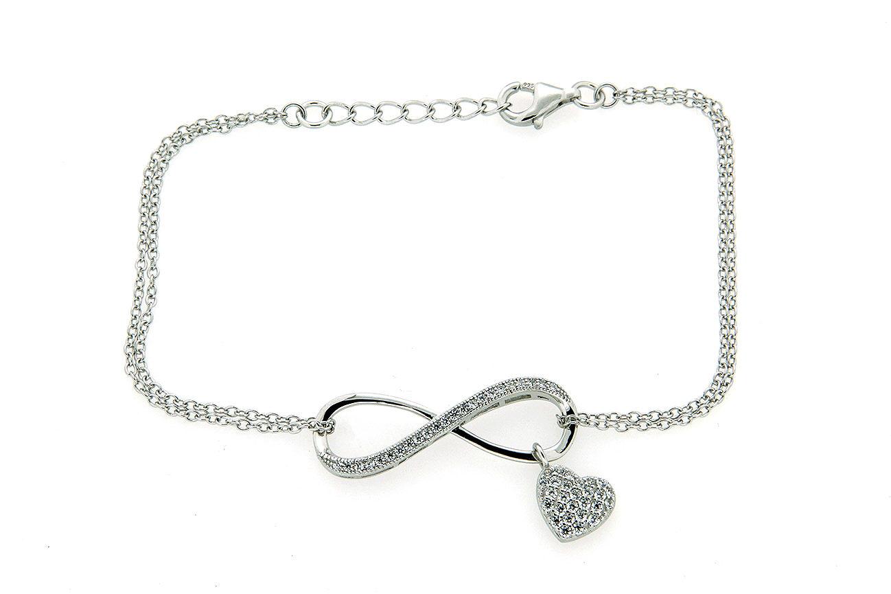 19-17cm  doppelreihig Armband in Silber 925 rhodiniert mit endlos Symbol und Herz in Zikonia