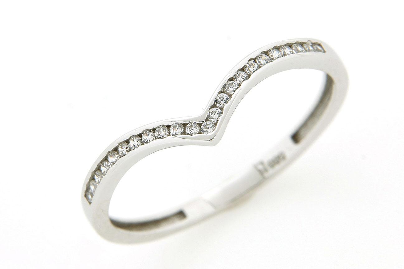 Gr.54 Ring gefertigt in Gold 585 Weißgold und weißen Zirkonia
