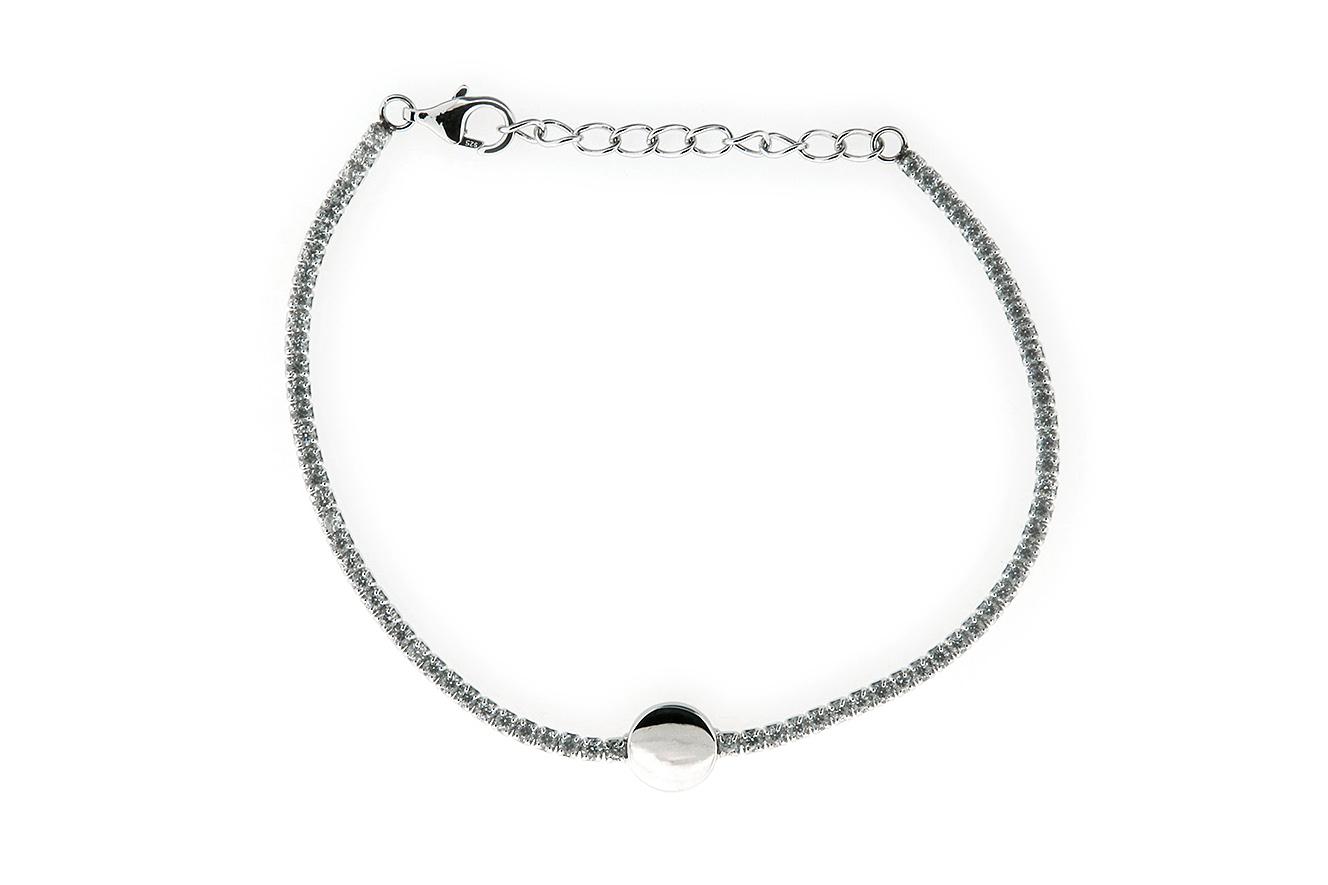 19-16cm Armband in Silber 925 rhodiniert mit Verlängerungskette und Mittelplättchen