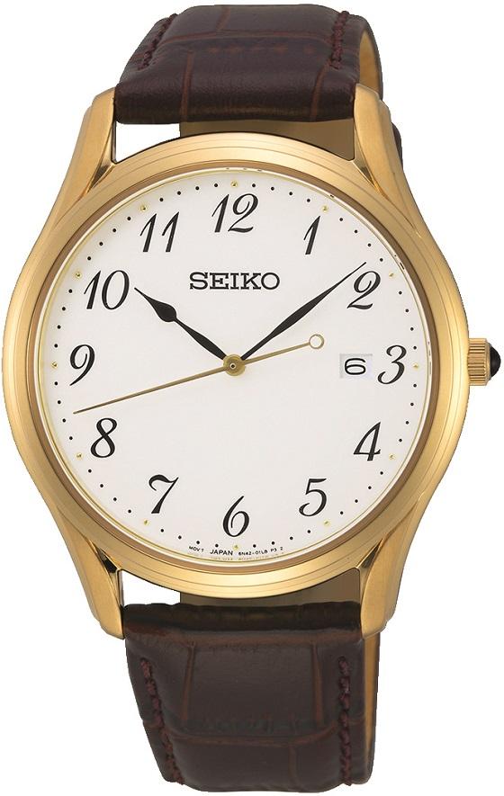 Herrenarmbanduhr Seiko Saphirglas, vergoldet mit Datumsanzeige und Steinkrone SUR306P1