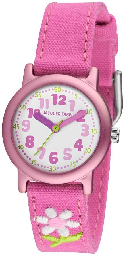 Öko-Kinderuhr Jacques Farel ORG 1111 Reinaluminum Gehäuse rosa mit Blume und Biobaumwollband pinkfar
