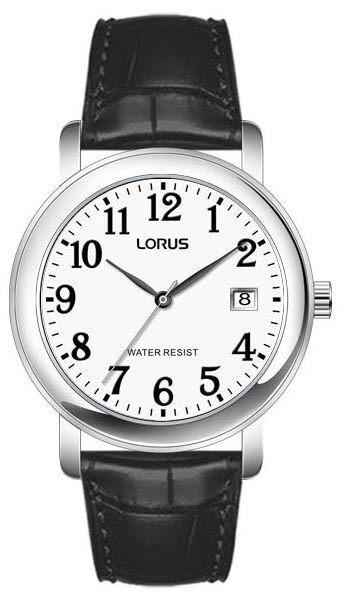 Armbanduhr von  Lorus RH765AX9 mit Lederarmband und Dornschließe sowie Datum