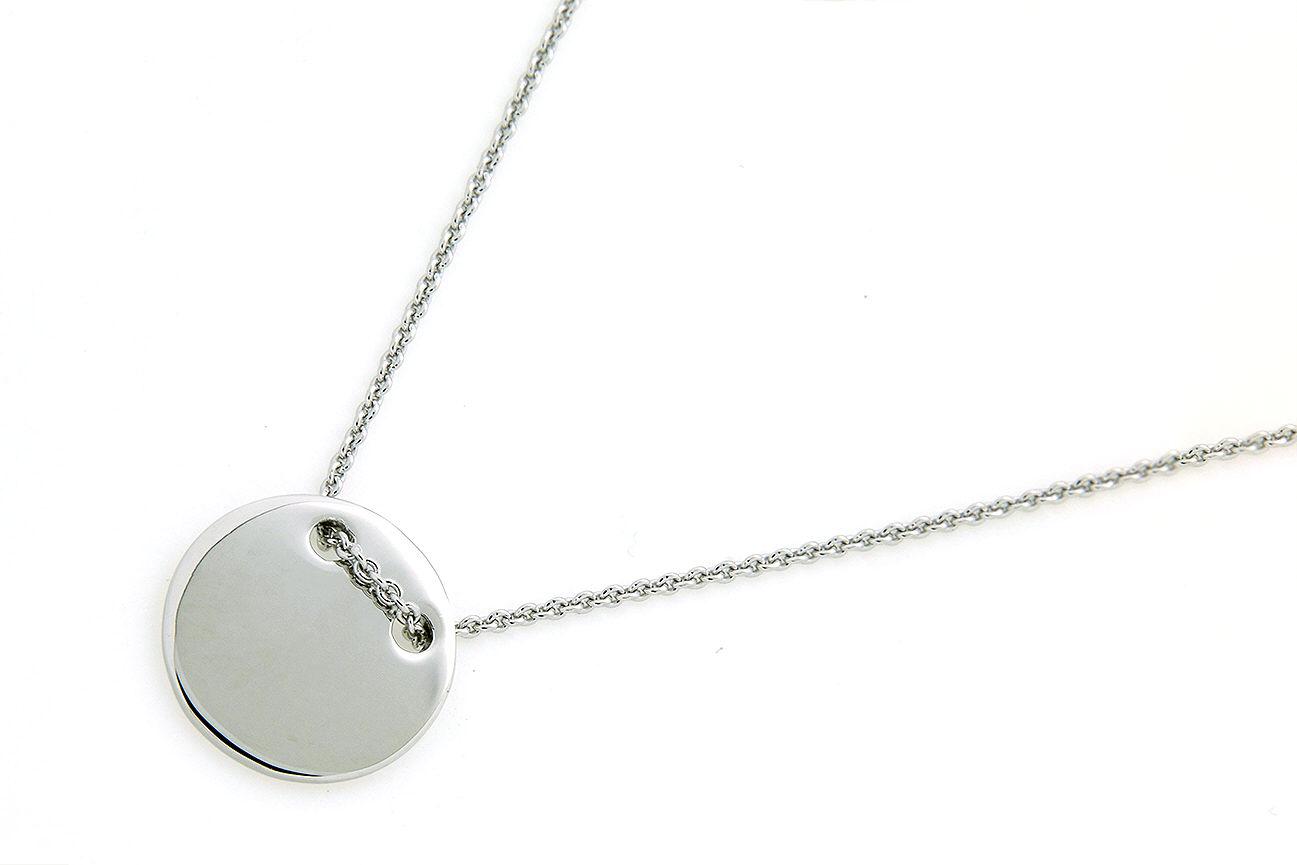 45-42cm Collier in Silber 925 mit einem Plättchen die Oberfläche ist rhodiniert