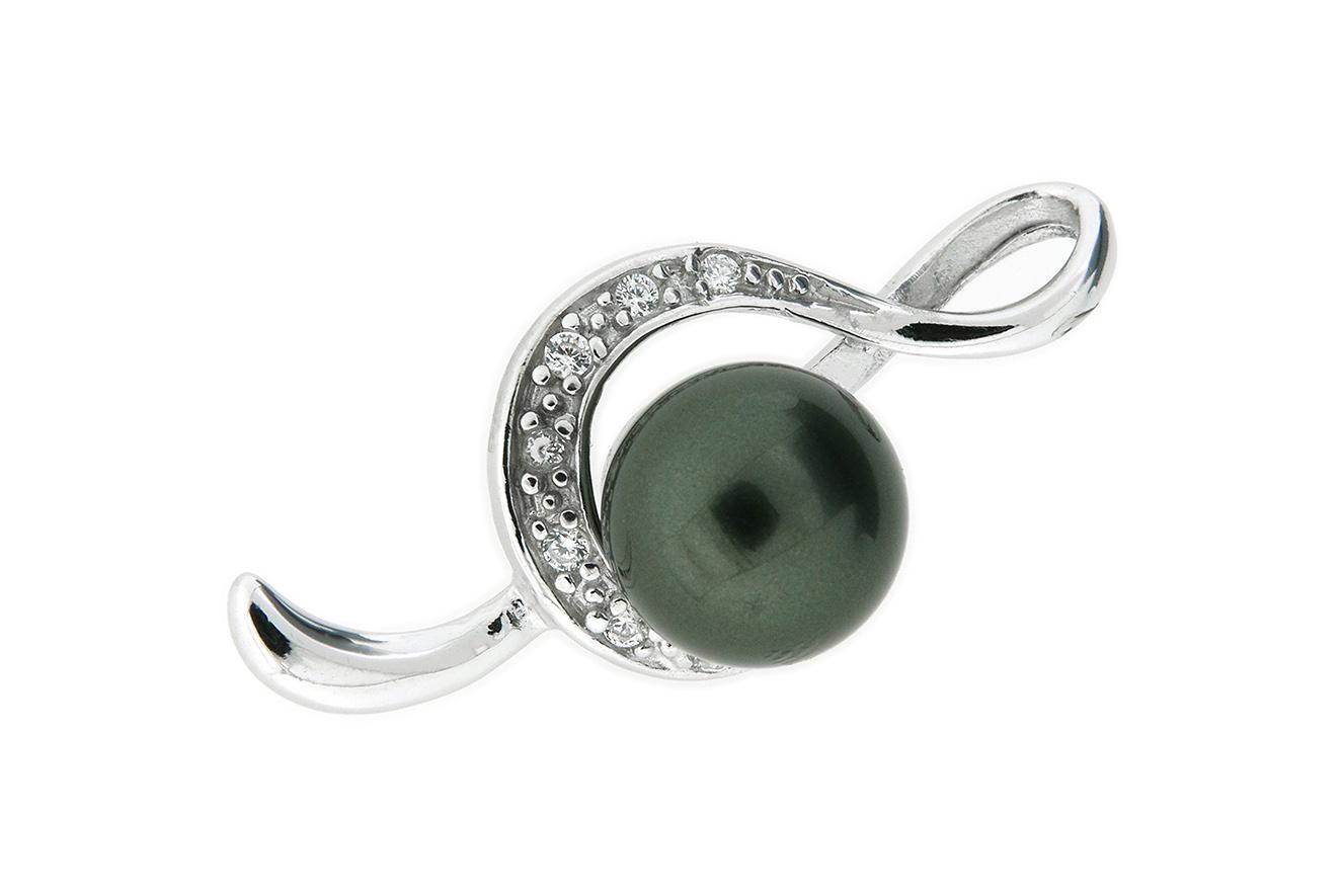 Anhänger Notenschlüssel Silber 925 rhodiniert mit Zirkonia und Perle