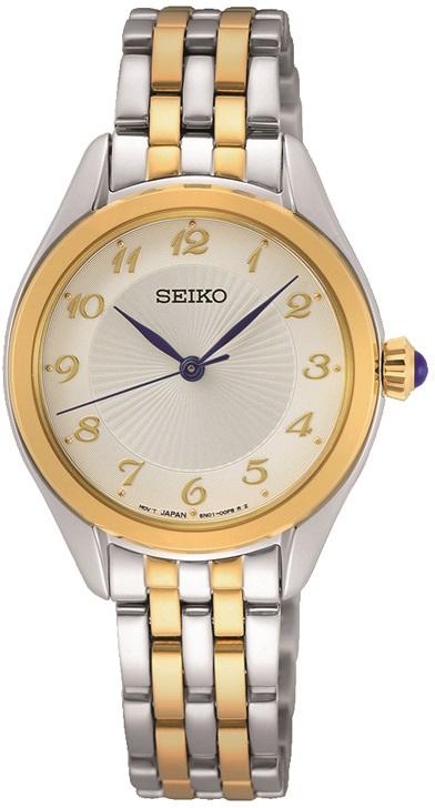 Armbanduhr von Seiko SUR380P1 teilvergoldetes Edelstahlgehäuse und Faltschließe sowie Cabochonkrone