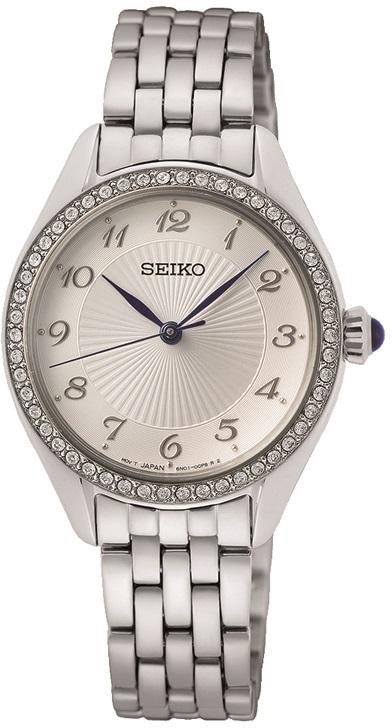 Damenarmbanduhr von Seiko SUR479P1 mit Edelstahlgehäuse und Kristallen sowie Cabochonkrone